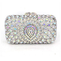 New Women's Handbags Luxury Crystal Wedding Clutch Bags Purse Full Diamond Flowers Party Evening Bags 88620-E