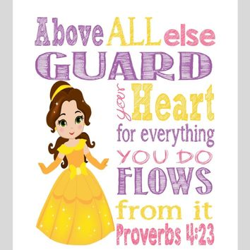 Belle Christian Princess Nursery Decor Wall Art Print - Above all else Guard your Heart - Proverbs 4:23 Bible Verse - Multiple Sizes