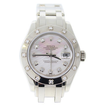 Rolex White Gold Mother of Pearl Diamond Bezel Masterpiece Wristwatch
