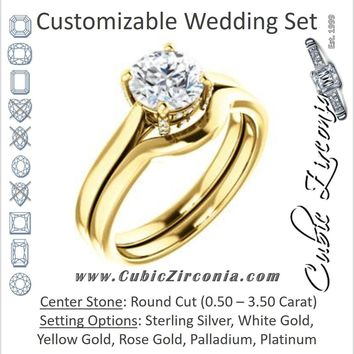 CZ Wedding Set, featuring The Aimy Jo engagement ring (Customizable Cathedral-Raised Round Cut with Prong Accents)