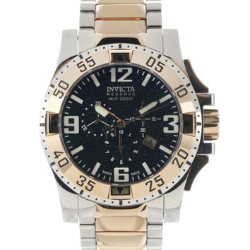 Invicta 0204 Men's Reserve Two Tone Rose Gold Plated Black Dial Chronograph Watch