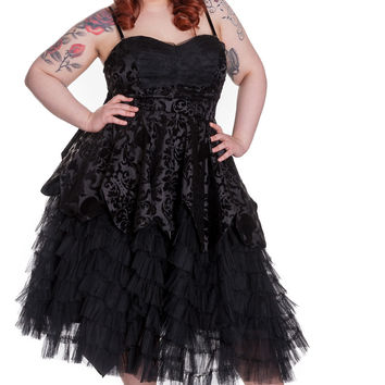 Plus Victorian Gothic Wedding Midnight Ball Black Lace Ruffled Dress
