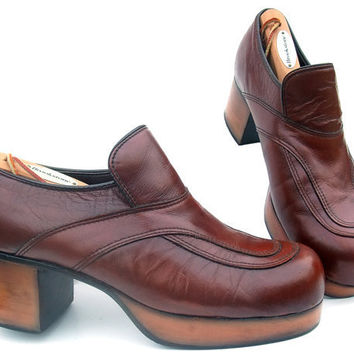 Vintage 1970s Platform Shoes Disco Pimp Brown by mysweetiepiepie