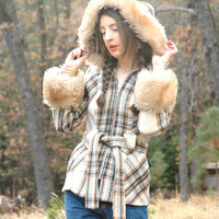 Size Extra Small... 1960s Hooded Wool Plaid Coat... Fabulous Oversized Fur Trim... LOVE HER MADLY