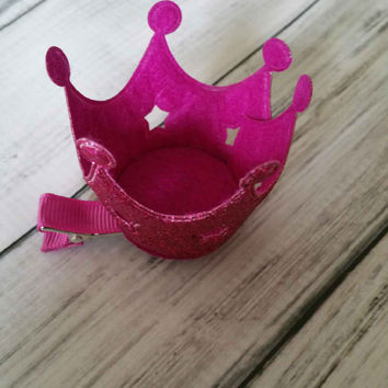 Pink Glitter Princess Crown Hair Clip - glitter crowns, princess hair clips, princess hair crowns, glitter princess