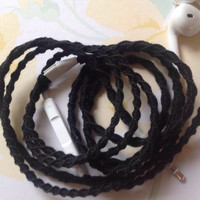 """Her """"Little Black Dress"""" Wrapped Earbuds / Tangle Free Headphones - by MyBuds"""