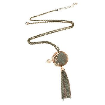 Hammered Disc Monogram Tassel Necklace