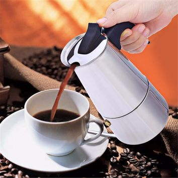 High Quality 2 4 6 9 Cups Coffee Maker Pot for Household Stainless Steel Moka Espresso Coffee Latte Percolator Stove Coffee Pots