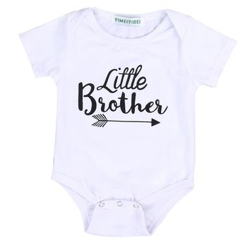 Little Brother Newborn Baby Boy Romper Clothes New Summer Short Sleeve Cotton Rompers Jumpsuit One Pieces Outfit Sunsuit