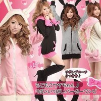 New Japanese Cosplay Emo Bunny Rabbit Ear Hot Shirt Top Cute Jacket Coat Hoodie