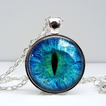 Cat Eye Necklace Glass Dome Art Picture Pendant Photo Pendant Handcrafted Jewelry by Lizabettas