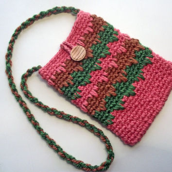 Crochet Neck Pouch, Pink Green & Brown Lanyard Bag, Handspun Glasses Case, Merino Neck Strap Spec Case, Lanyard Glasses Case, Camera Pouch