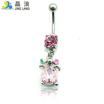 Free Shipping New Belly Button Rings 316L Stainless Steel Barbell Dangle Pink Rhinestone Tortoise Navel Piercing Jewelry