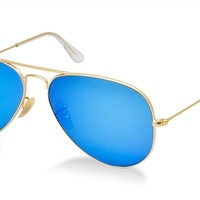 Ray ban Aviator Blue flash mirror lens gold RB3025 Sunglasses