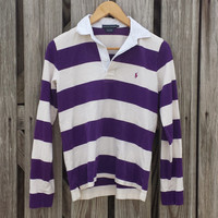 Vintage RALPH LAUREN Womens Striped Polo Shirt - Rugby Shirt - Size S