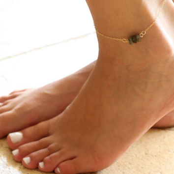 Gold Anklet - Gold Ankle Bracelet - Labradorite Anklet - Foot Jewelry - Foot Bracelet - Chain Anklet - Summer Jewelry - Beach Jewelry
