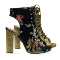 Brobe Black By Speed Limit 98, Oriental Embroidery Feather Stitching Lace Up, Block Heel Bootie Sandal