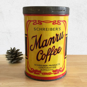 Vintage Manru Coffee Tin / Schreiber's Manru Coffee Can / Farmhouse Primitive Rustic Kitchen Decor / General Store / Vintage Advertising