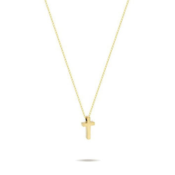 925 Sterling Silver Tiny 14K Gold Plated Cross Necklace Gold Small Christian Necklace 15inch + 2 Extension w Lobster Clasp Dainty Necklace Tiny Cross Charm, Gift For Her