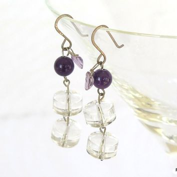 Amethyst and Quartz Crystal Drop Earrings