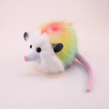 Stuffed Animal Cute Plush Toy Opossum Kawaii Plushie Rainbow Prism Opossum Snuggly Cuddly Faux Possum Medium 5x8 Inches