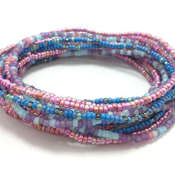 Seed bead wrap stretch bracelets, stacking, beaded, boho anklet, bohemian, stretchy stackable multi strand, metallic pink blue purple black