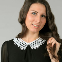 White detachable collar, Knitted crochet lace collar, Crystal collar, Crochet jewelry, ready to ship
