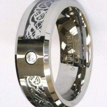 CERTIFIED 8Mm Silver Celtic Dragon Zirconia Tungsten Carbide Ring Men Jewelry
