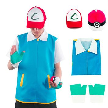Really Cool Men  Go Pocket Monster Ash Ketchum Trainer Costume Cosplay Shirt Jacket + Gloves + Hat + BallKawaii Pokemon go  AT_89_9