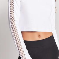 Active Mesh-Sleeve Hooded Top