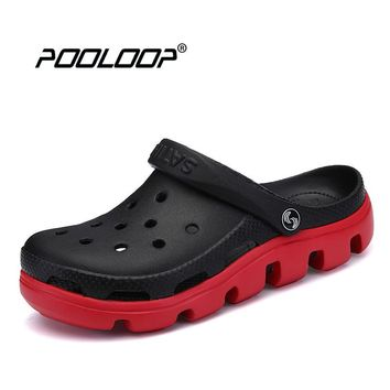 POOLOOP Big Size Men Causal Summer Sandals Causal Garden Crocus Clogs Soft Memory Foam Hospital Shoes For Male Slip On Beach