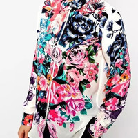 White Floral Print Long-Sleeve Button Shirt