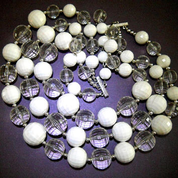 CORO 3 Multi Strand White Necklace, Faceted Clear & White Lucite, Bold Runway, Vintage