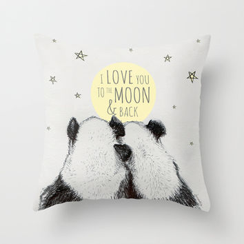 Panda loves you to the moon & back Throw Pillow by ISOSCELLΔ