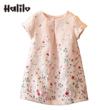 Halilo New 2017 Girls Summer Dress Kids Clothes Girls Party Dress Children Clothing Pink Princess Flower Girl Dresses Hot Sale