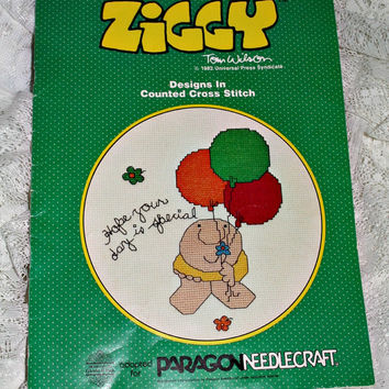Ziggy Cross Stitch Booklet 1982 Friendship Encouragement Motivational Gift Designs by Gloria & Pat for Paragon Needlecraft Counted X Stitch