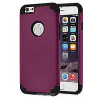 iPhone 6S Case, Limecase® [NGT Series][Purple+Black] Shockproof Hard Rugged Rubber Minimalistic Thin Cover with Dual Layer Impact Proof for Apple iPhone 6S (2015) & iPhone 6 (2014) (4.7 Inch) Devices