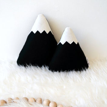 Black Mountain Pillows, Mountain Softies, Black White Nursery Decor, scandinavian nursery decor, Monochrome Nursery Decor