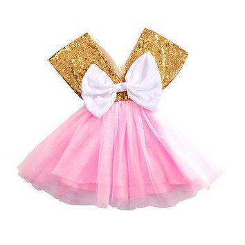 2017 Shiny Pink Gold Baby Toddler Girls Dress Flower Princess Wedding Party Pageant Fancy Dress