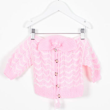 Vintage 1980s Baby Girl Sweater Pink White PANDA BEAR Buttons Cardigan Chevron Striped Crochet Knit Jumper 80s Sweater Pom Tie 6 9 Months