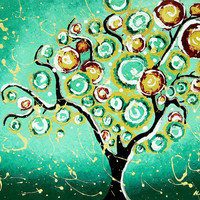 Giclee Art Print Tree of Life Turquoise Teal 11x14 by hjmart