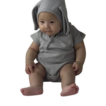 2PCS Rompers+Hat Baby Boys Girls Clothing Set Cute Rabbit Ear Newborn Romper Jumpsuit Fashion Cotton Infant Kids Clothes 0-24M