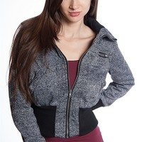 Ambiance Apparel Zip Up Ribbed Waist Melange Terry Jacket - Charcoal