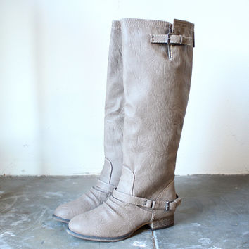 buckled down tall zippered riding boots sand
