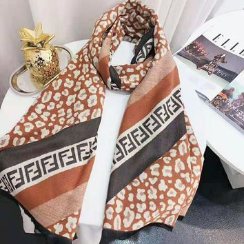 FENDI Stylish Women Comfortable Leopard Grain Cashmere Cape Scarf Scarves Shawl Accessories