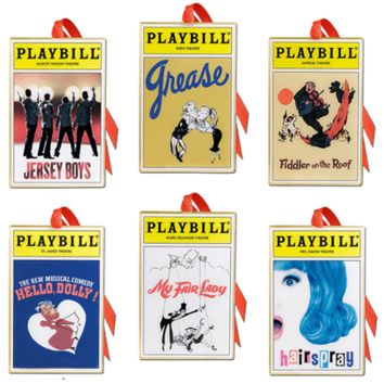 2014 Playbill Ornaments from the Broadway Cares Classic Collection - Set of Six