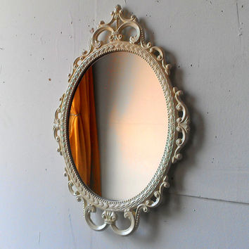 Ornate Oval Mirror in Vintage Metal Frame - 17 x 12 inch Handpainted Brass in Vintage White