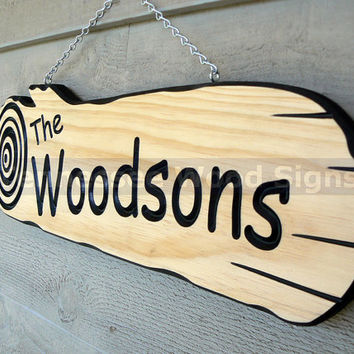 Personalized Family Name Signs - This is a Log Shaped Sign. Great for Cabins - Camping - Last Name - Gift - RV - Weddings.
