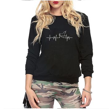 The new Unicorn pattern printing plus cashmere round neck women's long-sleeved sweater