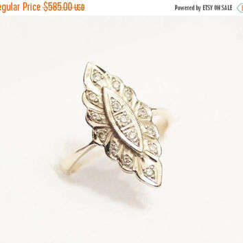 Vintage 14K Gold Diamond Russian Ring, Diamond Engagement Ring, Marquise Diamond ring free resize!!